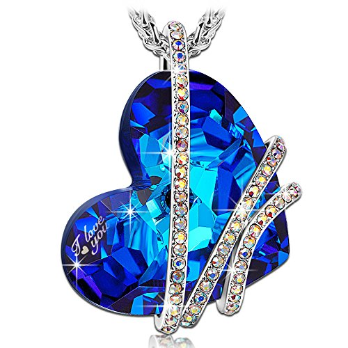 QIANSE Heart of Ocean Blue Sapphire Pendant Necklace Swarovski Crystals Women Jewelry Love Heart Engraved Necklaces Christmas Birthday for Girlfriend Wife Daughter ()
