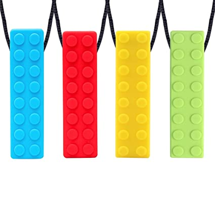 Collar Mordedor, Yuccer Paquete de 4 Collar de Lactancia Mordedor Collar Dientes Bebe Colgante Mordedor Para Autismo o ADHD Bebe (Azul + Amarillo + ...