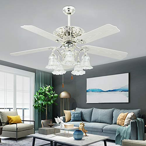 White Ceiling Fan With Remote Control 5 Glass Light Cover Indoor Home Decoration Living Room Dinner Room Quiet Fans Chandelier 5 Plastic Reversible Blades 52 Inch,Tropicalfan