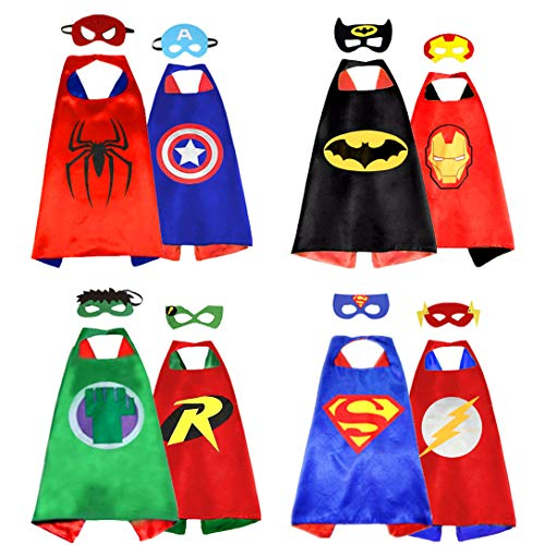 Superhero Capes for Kids, Double-Sided Satin Capes and Masks for Dress Up Costumes (4 Cape, 8 Mask) for $<!--$21.89-->
