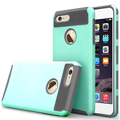 iBarbe iPhone 7 Case,iPhone 8 Case, Slim Fit Shell Rubber Hard Plastic Full Protective Anti-Scratch Resistant Cover Case for iPhone 7 (2016) / iPhone 8 (2017) - teal/gray