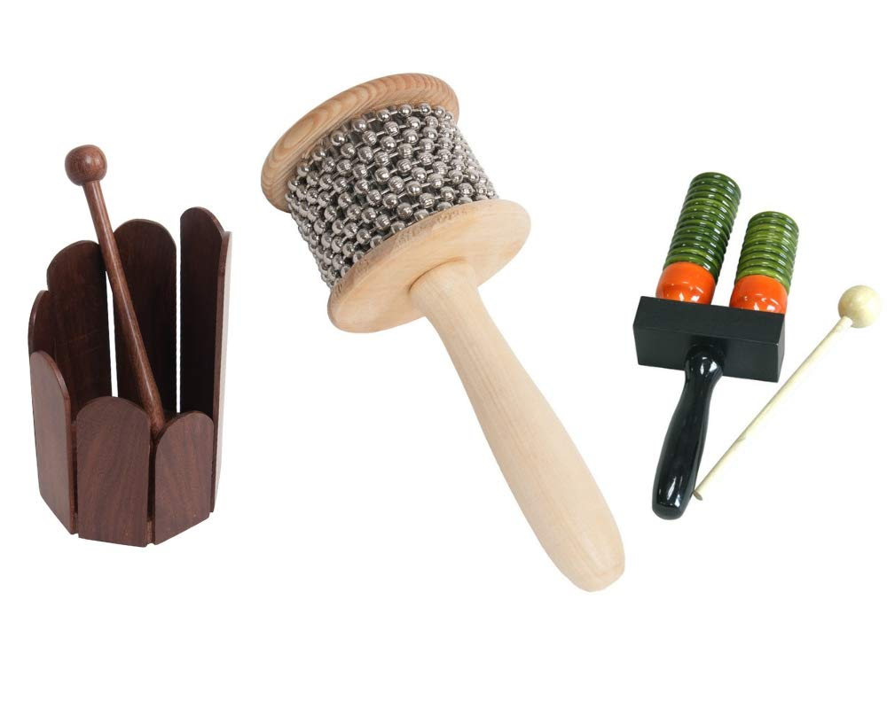 Wooden Hand Percussion Package Includes: Cabasa, Medium Wooden Hand Percussion Shaker W/Metal Beads + Double Bell Wooden Agogo w/Mallet & Stir Drum Hand Percussion