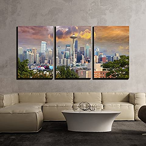 wall26 - 3 Piece Canvas Wall Art - Seattle Washington Cityscape Skyline with Stormy Sky - Modern Home Decor Stretched and Framed Ready to Hang - 24