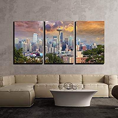 3 Piece Canvas Wall Art - Seattle Washington Cityscape Skyline with Stormy Sky - Modern Home Art Stretched and Framed Ready to Hang - 24