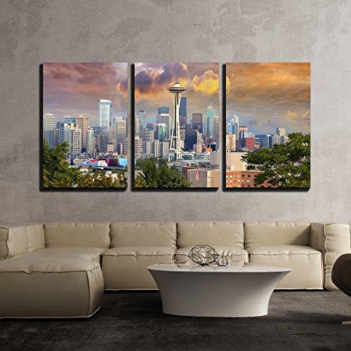 Seattle Washington Cityscape Skyline with Stormy Sky x3 Panels