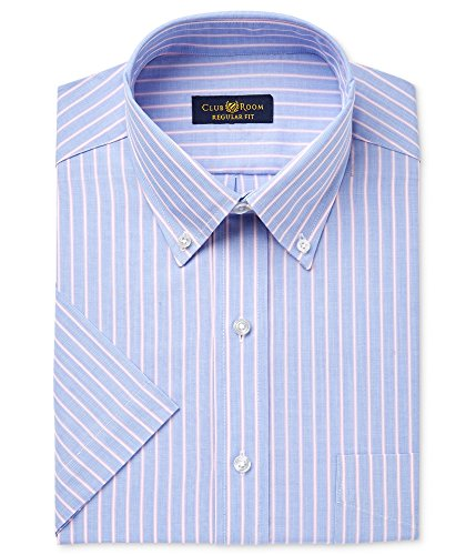 Club Room Mens Wrinkle-Resistant Button Up Dress Shirt Purple 18 from Club Room