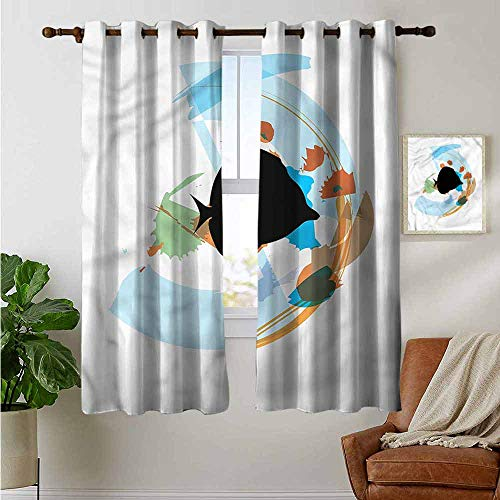 petpany Curtains for Bedroom Fish,Discus Cichlid Silhouette,Darkening and Thermal Insulating Draperies 52