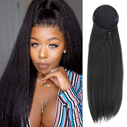AISI QUEENS Long Yaki Straight Ponytail Extensions Synthetic 22