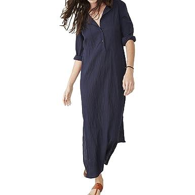47aec4d3cb Juqilu Women s V Collar Fork Hem Dress Summer Casual Long Skirt Loose Sexy  Pure Color Dress S-5XL  Amazon.co.uk  Clothing