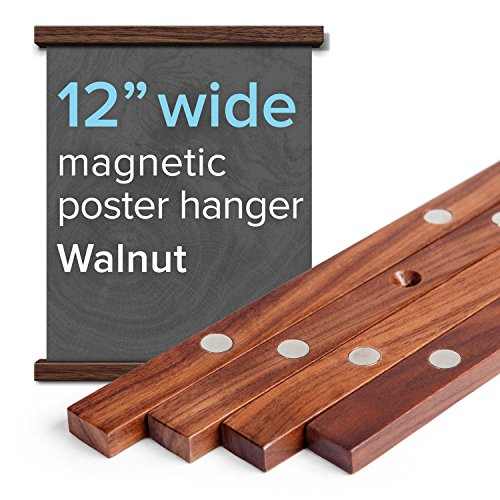 """12"""" Wide Magnetic Poster Frame Hanger in Walnut – Solid Wood and Magnets Strong Enough to Hang ANY Length -"""
