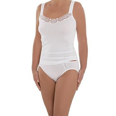 9d3b8e3c21 Comazo Damen Unterhemd - 2er Pack - Top mit hochwertiger Spitze - Wäsche  aus Micro-