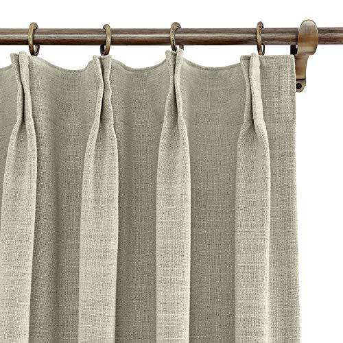 Cottontree Homesoft FirstHomer Polyester Linen Curtain Thermal Blackout Lining Pinch Pleat Drape for Sliding Door Patio Door Bedroom,100W84L,1 Panel, Sand Beige