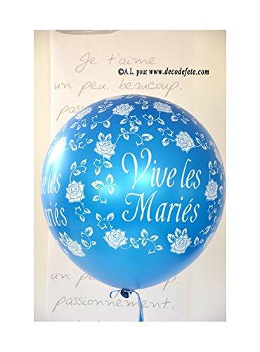 Belbal 1 Balón Gigante 90 cm Vive Les Mariés Cyan/Turquesa: Amazon ...