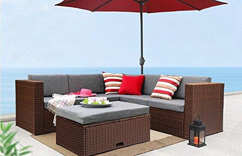 Azure Sky ASB1035BR 4 Piece sectional Sofa Set, Brown