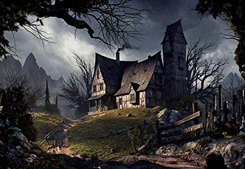 PigBangbang,34.4 X 22.6 Inch,Made of Basswood - Old House Halloween Road Fence Trees Mountains - 1500 Piece Jigsaw Puzzle -
