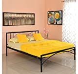 @home by Nilkamal Ursa Queen Size Bed without Storage (Matte Finish, Black)