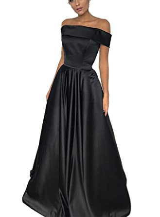 TulBridal Womens Off-The-Shoulder Black Long Prom Dresses Evening Ball Gowns 2018 at Amazon Womens Clothing store: