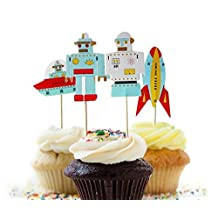 Value Pack- 24 Cupcake Toppers Picks- Various Themes (Robot)
