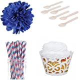 Dress My Cupcake DMC31562 Laser Cut Wrappers Dessert Table Party Kit with Red and Blue Striped Straws