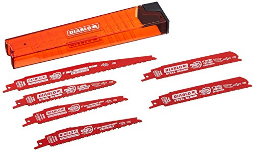 (Diablo DS006S Steel and Nail-Embedded Wood Cutting Blade Assortment for Reciprocating Saws w/ Storage Sleeve (6 Blades)