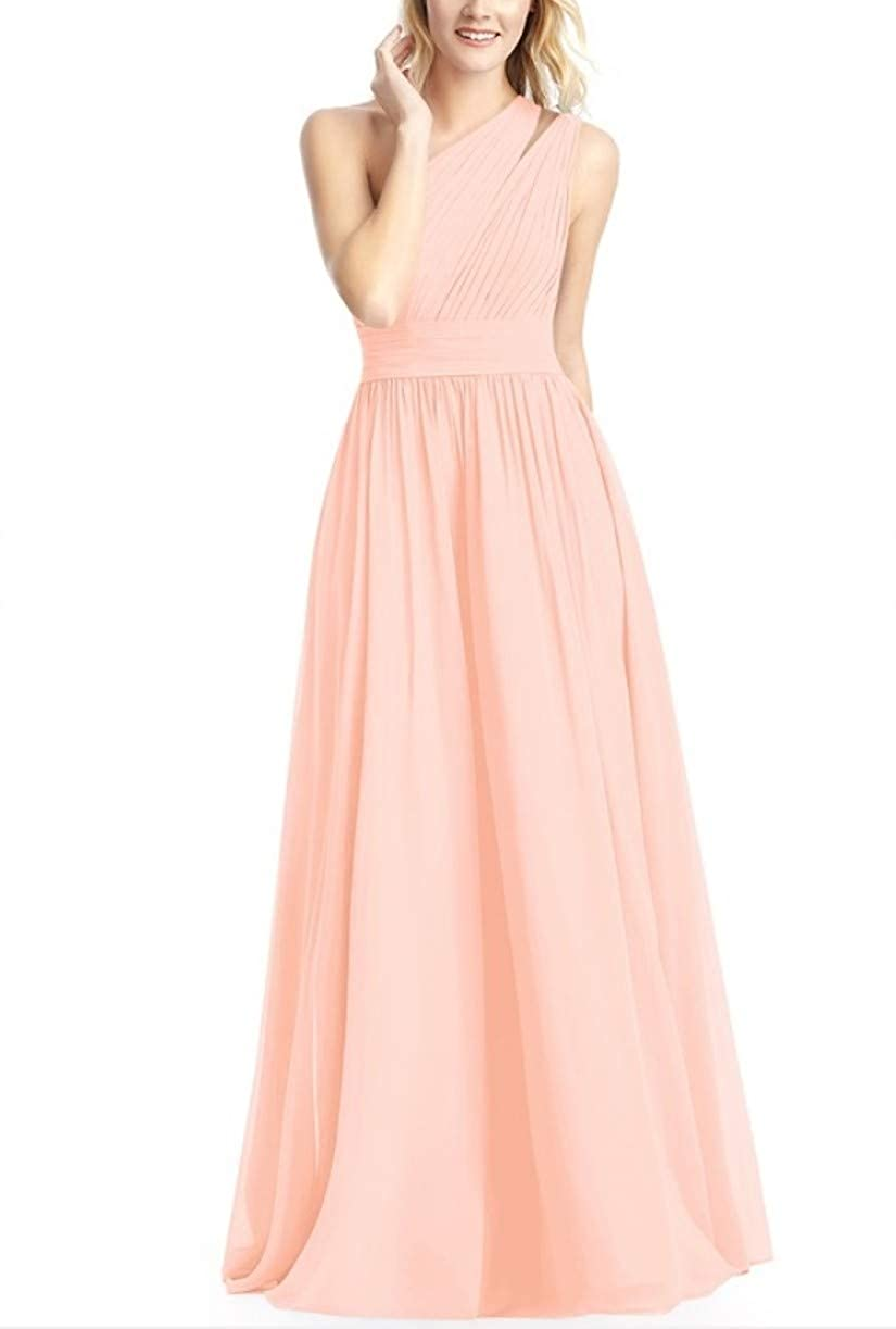 Coral RTTUTED Women's FullLength One Shoulder Bridesmaid Dress Evening Prom Gowns Skirt