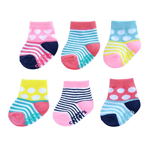 Carter's Baby Girls Crew Socks (6 Pack), Dots and Stripes-Blue, Pink, Yellow, 0-3 Months