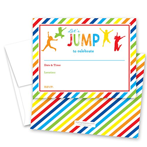 24 Jump Bounce Fill-in Kids Birthday Party Invitations