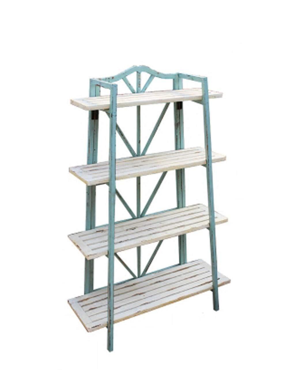 4 Layers of Multi-small Flower Racks, Ladder Metal Racks, Storage Racks, Garden Gardening Shelves, Blue Pot Racks.