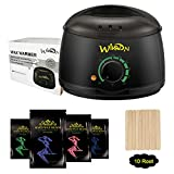 Wax Warmer, Electric Hair Removal Waxing Kit with 4 Packs of Hard Wax Beans and 10 Wax Wooden Spatulas (at-Home Waxing for Women and Men) (Black)