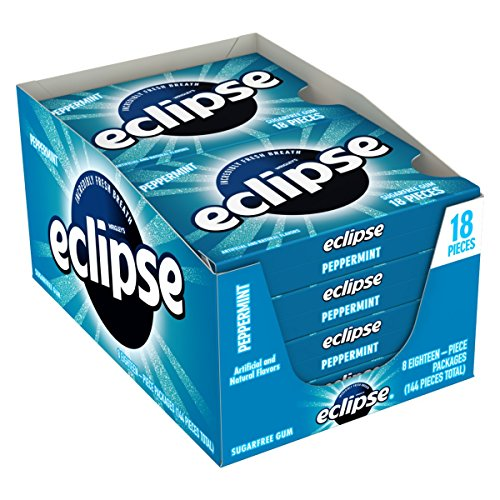 Eclipse Gum Flavors (Eclipse Peppermint Sugarfree Gum, 18 Piece Pack (8 Packs))