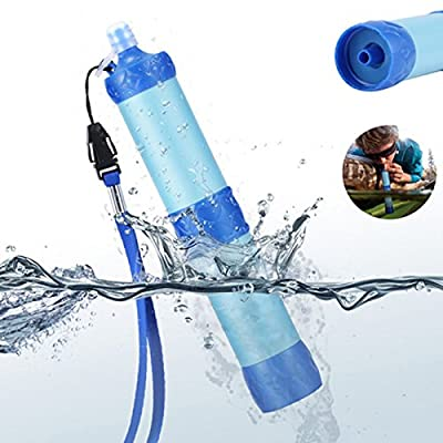 Finlon Portable Water Filter Filtration Straw Purifier Survival Gear, Outdoor Survival Multi Tool Camping Hiking Portable Filter Suction Pipe Outdoor Wild Water Purifier Pressure Water Filter by Finlon