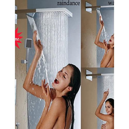 SAEKJJ-Thermostatic Bathroom Shower Faucet, Stainless Steel 304 Wall Mounted Chrome Waterfall And Rainfall Shower Head Bathroom faucet 30%OFF