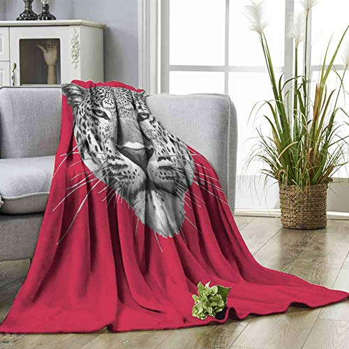 Big datastore Blanket Hand Drawn Portrait of Leopard Vector Print Summer Quilt Comforter Multicolor Size:60