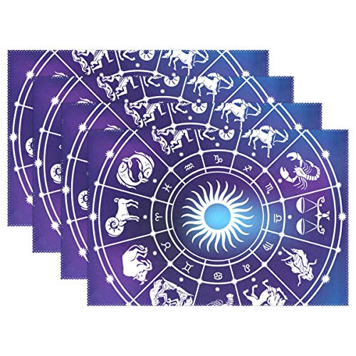 NMCEO Place Mats Roman Zodiac Capricorn Personalized Table Mats for Kitchen Dinner Table Washable PVC Non-Slip Insulation Set of 4 ()