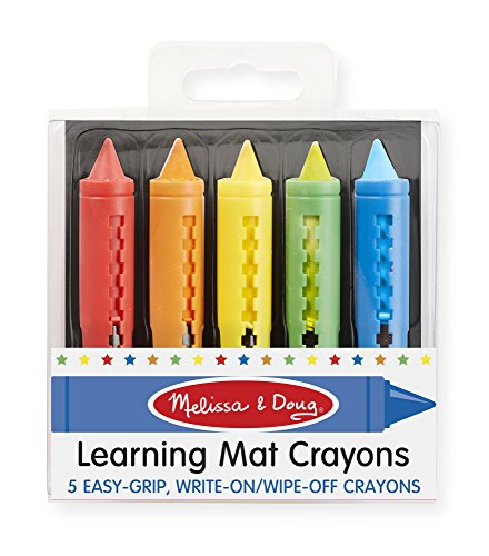 Wipe Off Crayons (Melissa & Doug Learning Mat Crayons - 5 Colors)
