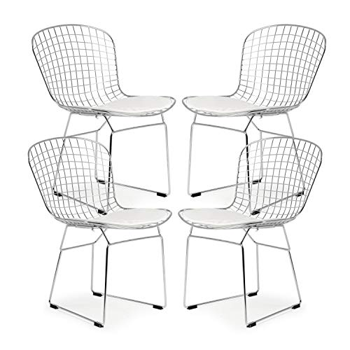 Bertoia Wire Diamond Chair - Poly and Bark Morph Side Chair in White (Set of 4)