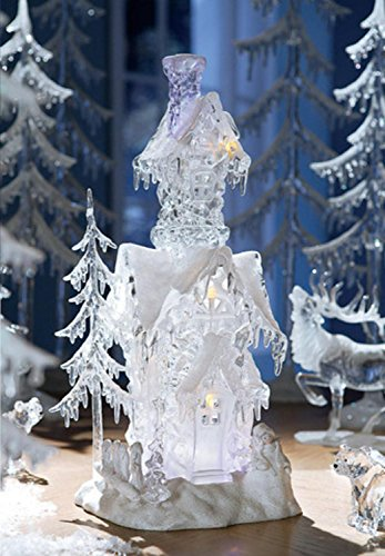 Pack of 2 Icy Crystal Illuminated Decorative Christmas Snow Houses 17.5'' by CC Christmas Decor