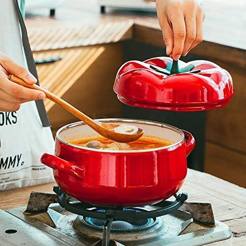 Plat de Cocotte Peu Profonde Émaillée avec Couvercle, Rétention de Chaleur Ronde Casserole de Tomates de Pot Néerlandaise avec Double Poignées, Rouge