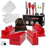 Sushi Making Kit - DIY Beginner Set - 10 Shape Molds, 3 Types - Maki rolls, Temaki, Nigiri, Knife, Spatula, Chopsticks, Sauce Dishes, Storage Bag & Sushi Maker Guide Book - Red - by KitchenBoosterz