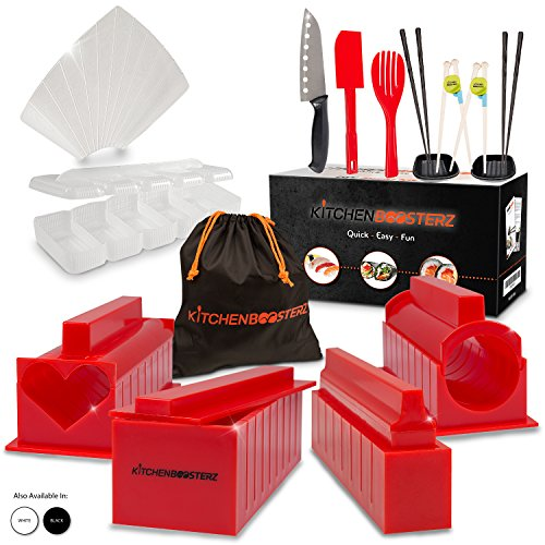 Sushi Making Kit - DIY Beginner Set - 10 Shape Molds, 3 Types - Maki rolls, Temaki, Nigiri, Knife, Spatula, Chopsticks, Sauce Dishes, Storage Bag & Sushi Maker Guide Book - Red - by KitchenBoosterz by KitchenBoosterz