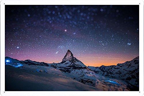 Planet Scene Poster - Mountain Peak Stars Sky Night Light Snow 46057 Tin Sign