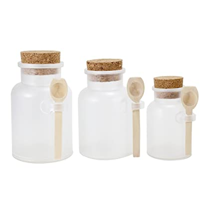 Frosted Apothecary Plastic Jar Set With Cork Cap And Wood Spoon Set Of 3 Small Medium Large
