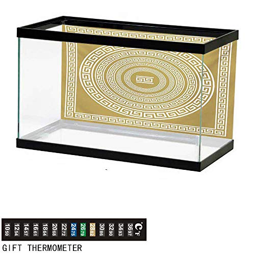 - wwwhsl Aquarium Background,Greek Key,Frieze with Vintage Ornament Meander Pattern from Greece Retro Twist Lines,Pale Amber White Fish Tank Backdrop 48