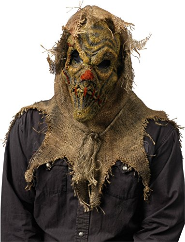 [Scarecrow Natural Horrific Latex Adult Halloween Costume Mask] (Scary Scarecrow Halloween Costumes)
