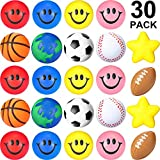 30 Pieces Mini Stress Ball Foam Squeeze Sports Ball Relief Smile Face, Globe, Sport Balls, Yellow Stars Stress Ball Bulk Assortment Novelty Stress Ball Toy for Party Favor Gifts Stuffers