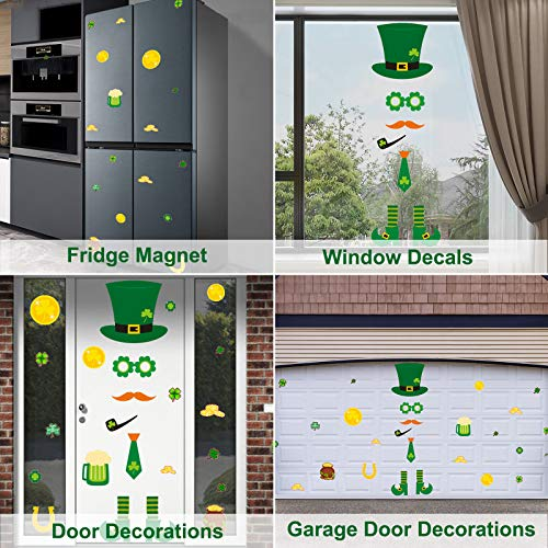 St.Patrick\'s Day Garage Door Decorations-Lrish Clover Green Hat Gold Coins Large Size Reusable PVC Window Clings Stickers Garage Decoration for St Patricks Day Decorations…