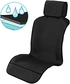Truck Stains or Van Protector Front or Back Seats Pad Smells Waterproof Universal Car Seat Cover Cushion Non-Slip PU Leather Car Protector Save Your Auto Seat from Sweat Fit for Most Car Suv