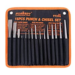 HORUSDY 16-Piece Punch and Chisel Set, I...