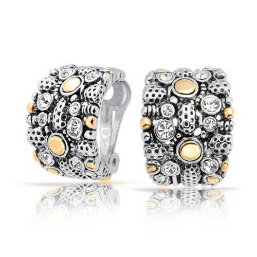 Bling Jewelry Gold Plated Rhodium Plated Brass Two Tone Crystal Half Hoop Clip On Earrings (Tone Hoop Half Two)