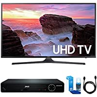 Samsung UN55MU6300 55 4K UHD Smart LED TV (2017 Model) w/ HDMI DVD Player Bundle Includes, HDMI 1080p High Definition DVD Player with USB Port, 6ft High Speed HDMI Cable and LED TV Screen Cleaner